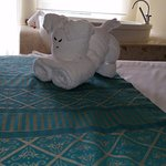 Towel art creation by the maid.