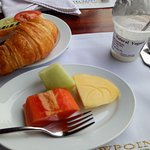delicious croissant and yoghurt