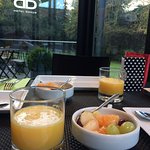 Healthy breakfast with a garden view