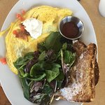 The Works Omelet with salad