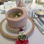 Soup from the banquet at the grand ballroom