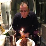Birthday celebrations in the hotel reception lounge.