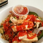Love the stir fry bowl of chicken with a little hot sauce!