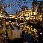 View of nearby canal during Festival of Light December