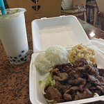 BBQ beef with rice and mac and cheese, coconut boba tea.