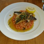 Pan Fried Sea Bass with Tomato & Courgette Risotto