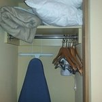 closet: 2 extra pillows, extra blanket, iron, ironing board