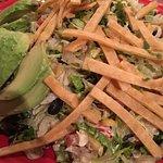 Salad fish tacos Guac margaritas and Tecate