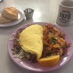 Pikes Peak Omelet and a house made biscuit! Yum!