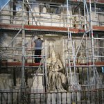 Statue of Moses undergoing renovation.