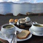 Potato Leek soup, Fresh scones and tea! Perfect!