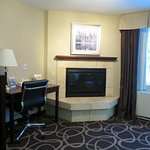 Room 201 desk, gas fireplace