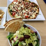Pizza Niko & salad before they went to smaller portions.