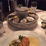 """smoking"" raw oysters & lump crab cake"
