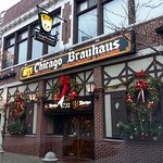 front of & entrance to Chicago Brauhaus