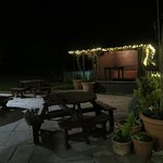 night view of outside seating area