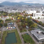 Sampu Park from the Prefectural Office observatory. Momijiyama garden is in the cnetre of this p