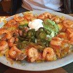 Nachos with nice-sized shrimp