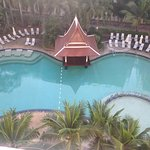 Top view of the pool side from room