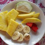 A fresh fruit plate with each breakfast