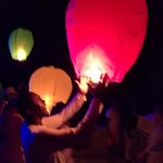 Launching Japanese Lanterns at Midnight