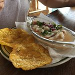 Fish Ceviche with patacones (plantain crisps)