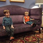 My boys enjoying the lobby furniture