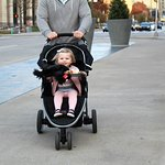 My granddaughter and stroller.