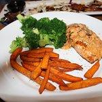 Wild Salmon, broccoli, sweet potato fries.