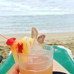 Passion fruit vodka by the beach