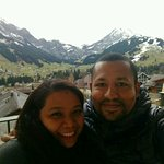 taken from the balcony, with the view alps and the village behind us!