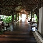 Walk through this beautiful wooden, covered walkway from the lobby to the restaurants, pool & oc