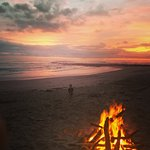 our fire at sunset - such fun and after the fireflies came out!