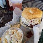 Delicious LA Burger and potato salad