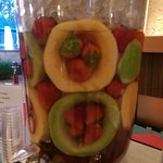 Fruit Infused Water with Melons and Strawberries.