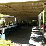 The outdoor area can accommodate large groups- there is an indoor area