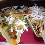 Pork Belly (left) and roasted duck street tacos