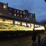 Christmas City Express train all lit up with Chritsmas lights.