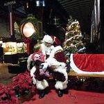 Santa at the train depot.