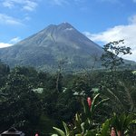 View from breakfast area of Arenal Volcano