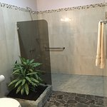 Large Walk in shower with nice ambience