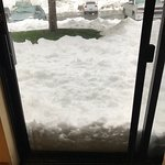 Sliding door out into snow!