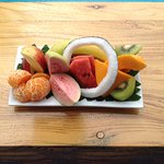 The fruit plate you receive every morning! The fruit changes a bit daily.