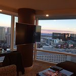 The Aria was perfect! We had a corner suite panoramic view-- it showed the strip side & mountain
