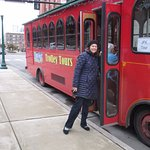 Getting on the JFK Trolley Tour - lots of fun.