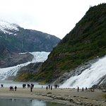 The falls with the glacier across the inlet