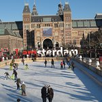 Ice skating outside the Rijksmuseum