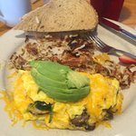 A-Mazing omelet with avocado, mushrooms, & spinach