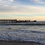 pier with sunken boat