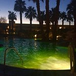 The main hot springs pool with a great evening view of the mountains